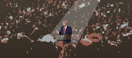 Trump at rally - illustration
